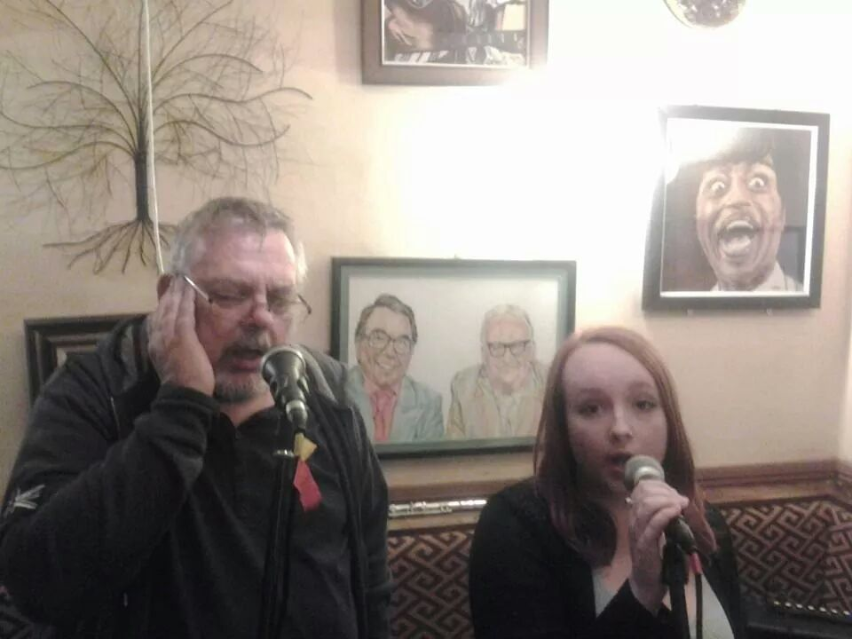 Me (Peter) and Sophie singing at the Chestnut Inn, Worcester, August 2014