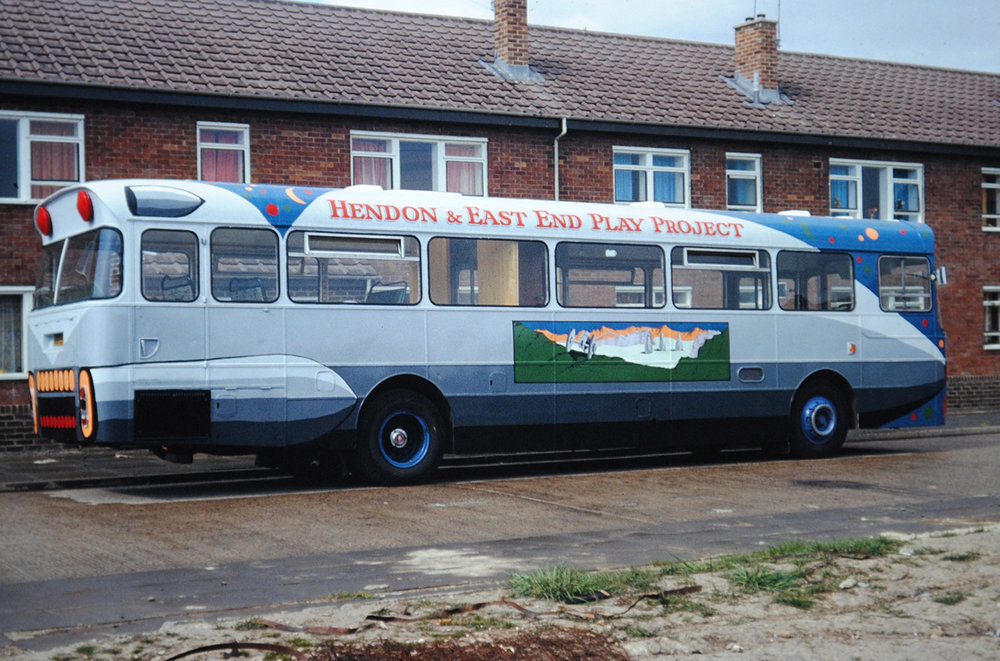 Whilst at college in Sunderland, as part of my placement with The Community Arts Project Sunderland (CAPS), I painted this bus for the 'Hendon & East End Play Project.