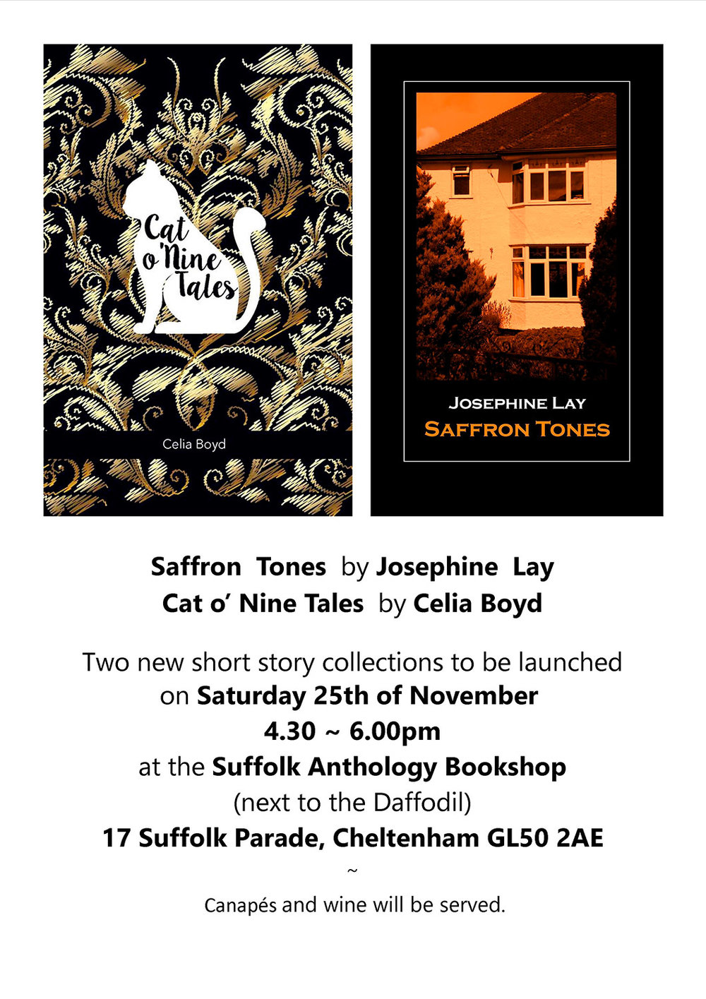 Poster of a book launch for two authors, Celia Boyd and Josephine Lay for their books titles Cat o' Nine Tales and Saffron Tales.