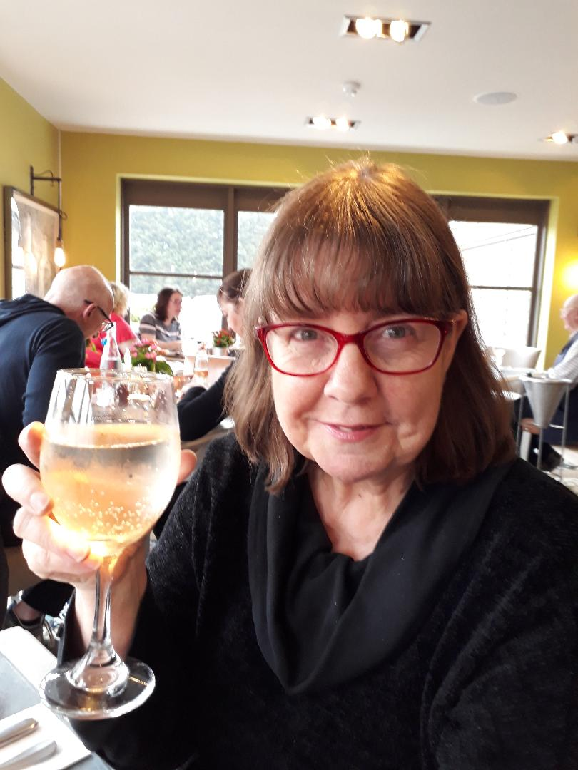 - Josephine Lay celebrating her birthday, and finishing the first draft of her second novel, 'Refuge' at The Moat House, Alcester. 25th May 2018
