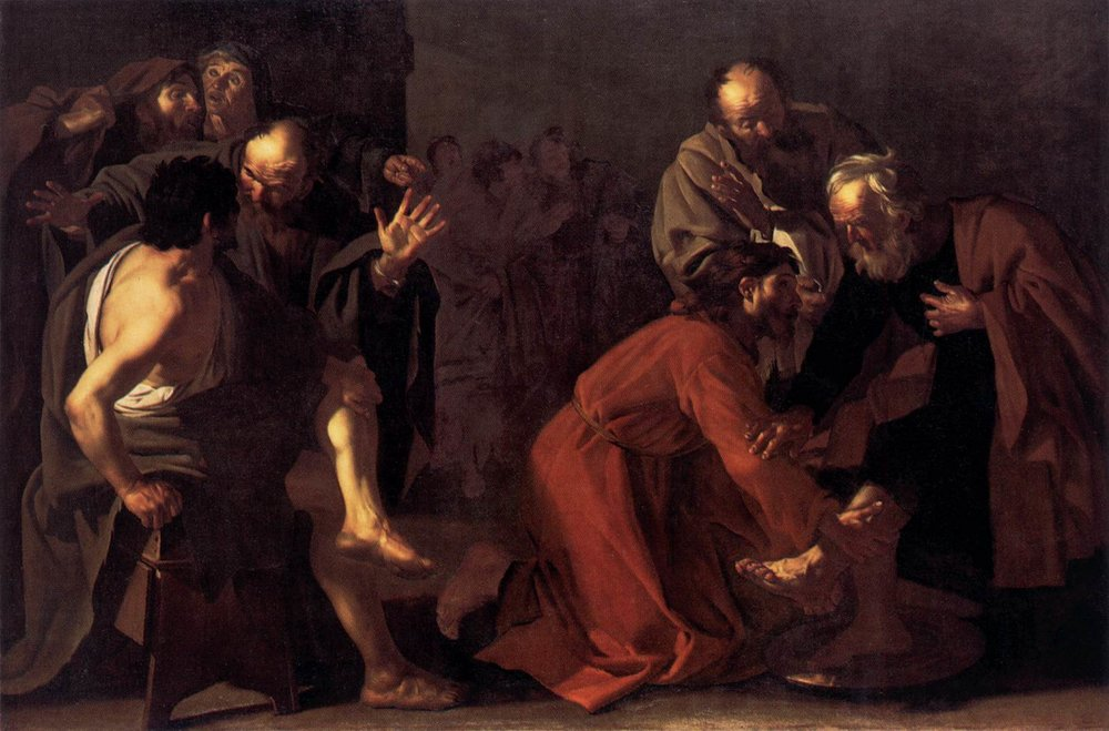 Dirck van Baburen - Christ Washing the Apostles Fee