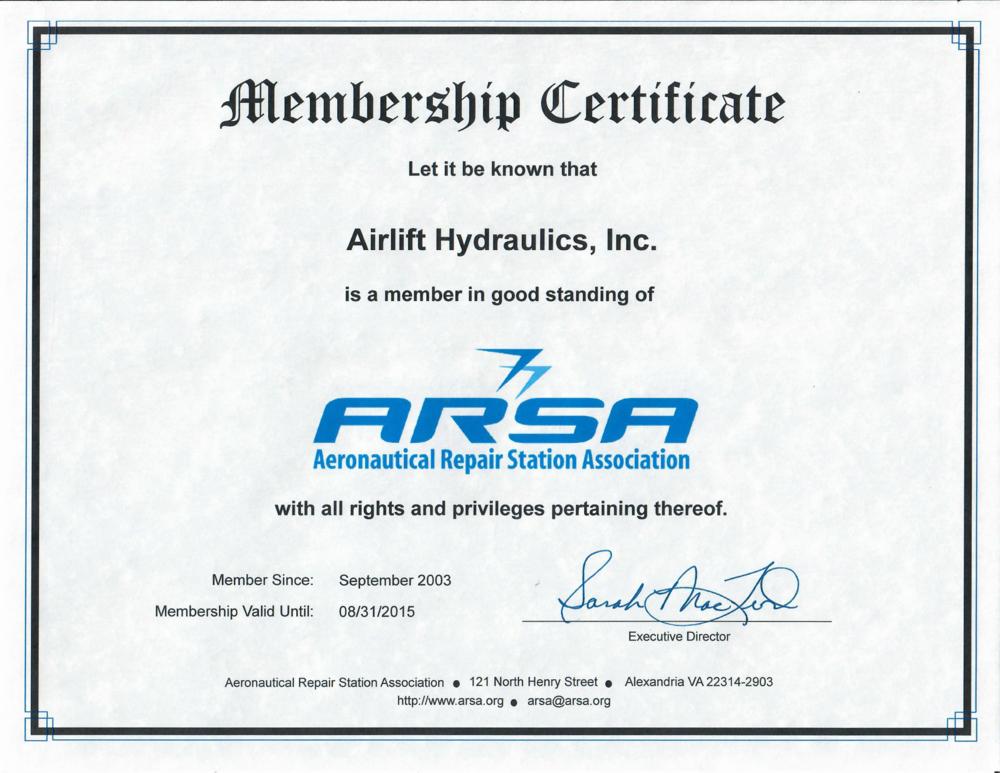 ARSA Membership Certificate