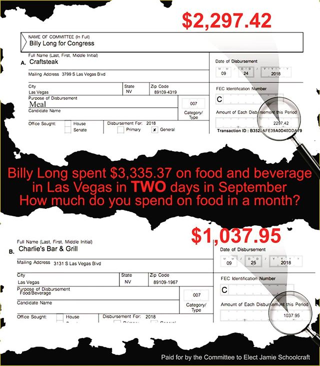Billy Long spent more money on food and beverages in two days than most Southwest Missourians make in a month. Do you really think he represents you?  It's time for change, #vote4schoolcraft in November.