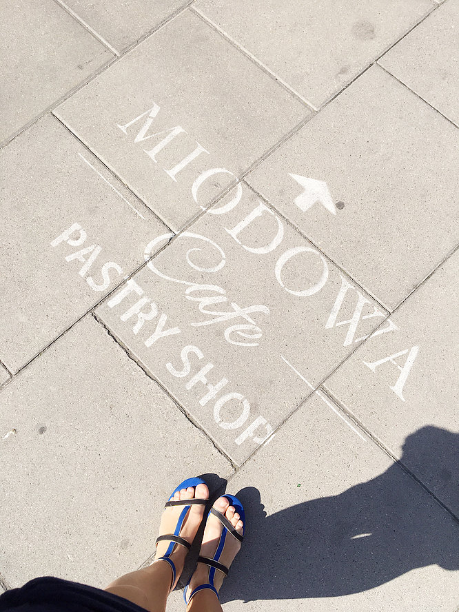 Warsaw's Cafe Fit For A Princess | Sign for Miodowa Cafe | jumpseatjenny | Travel and Lifestyle Blogger | Warsaw Poland