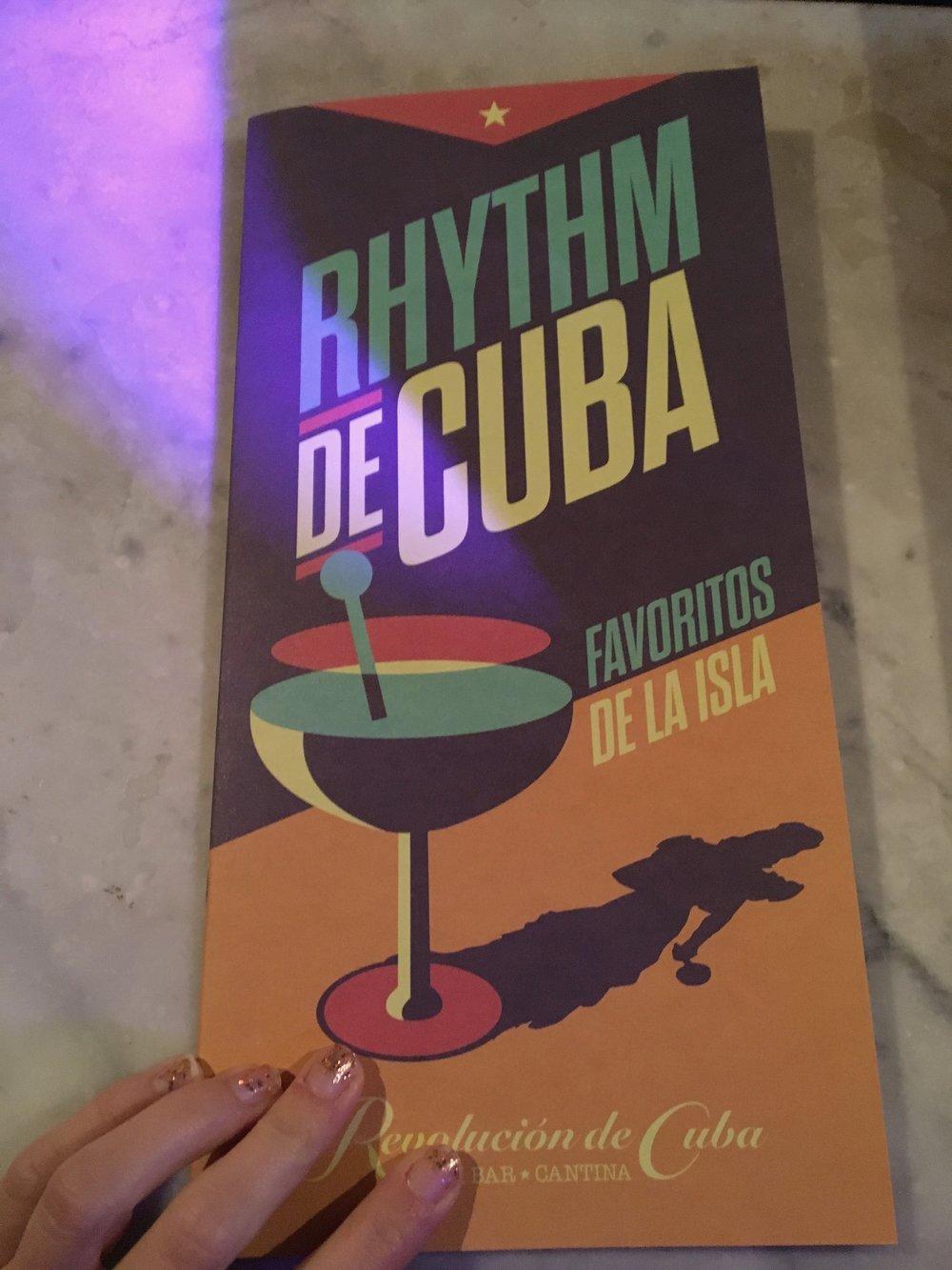 Drink Menu at Revolution De Cuba   jumpseatjenny