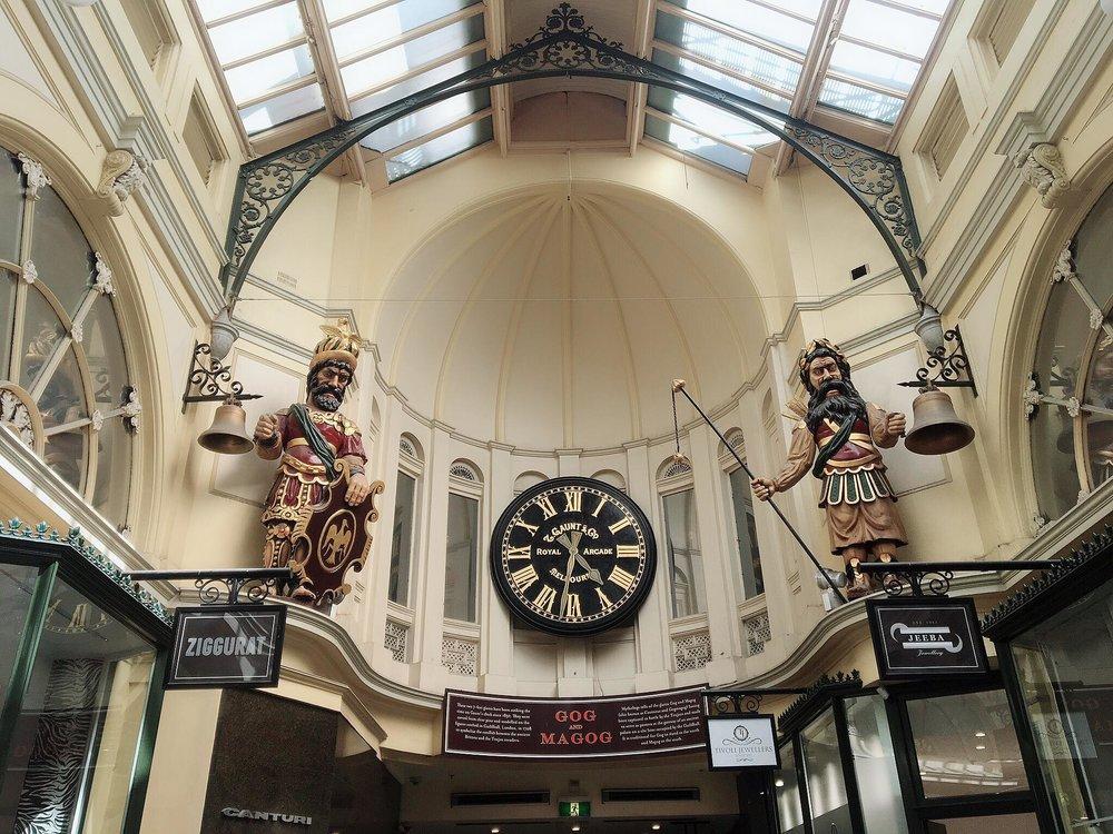 Australias Beautiful Shopping Arcades   The Down Under Series   The Royal Arcade Clock   jumpseatjenny   Melbourne, NSW.jpg