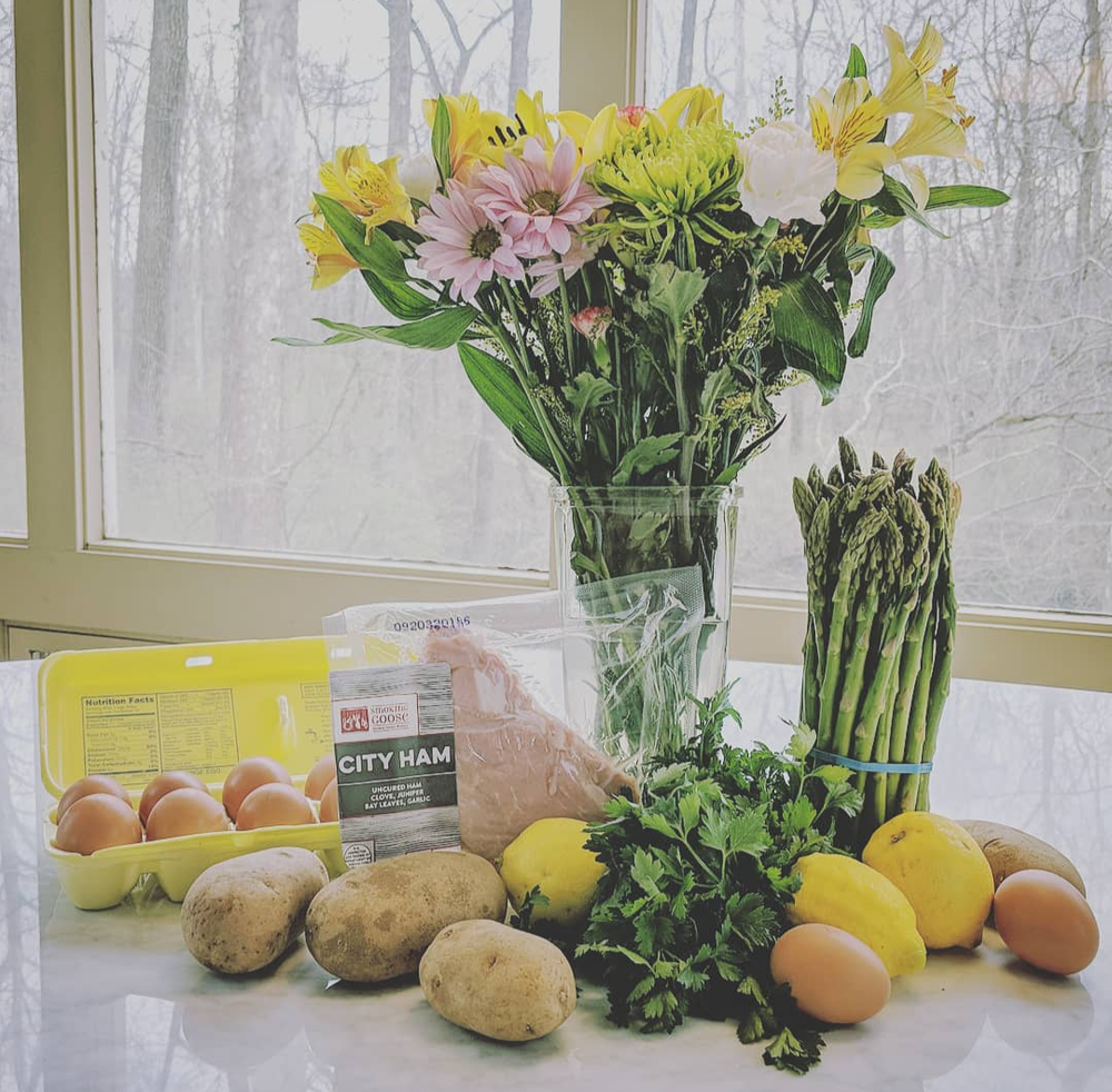 I had all the key ingredients I needed delivered to my door by Green Bean Delivery.  Eggs  are locally sourced from pasture-raised chickens at Spring Valley Farm in Hagerstown, IN.  City Ham  from Smoking Goose (made in Indiana, raised on small family farms).  Organic  asparagus, lemons, potatoes, and fresh parsley all from  Green Bean Delivery -   a family-owned company .