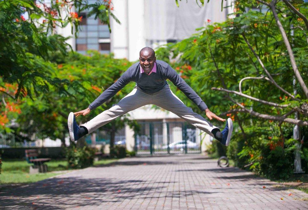 Doc Ayomide jumping