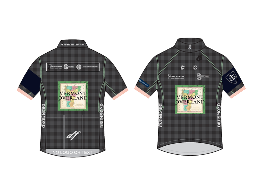 2017 VO Team Kit - Class Four produced the 2017 Vermont Overland team kits for resale. Sewn by Garneau USA, the design drew heavily on a Vermont flannel aesthetic alongside previous years' styling.