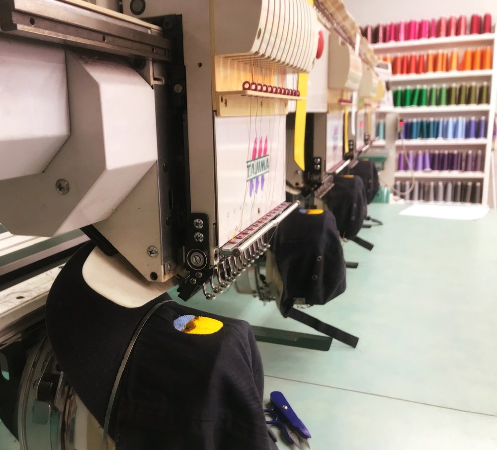 Our 4 head embroidery machine is perfect for larger runs!