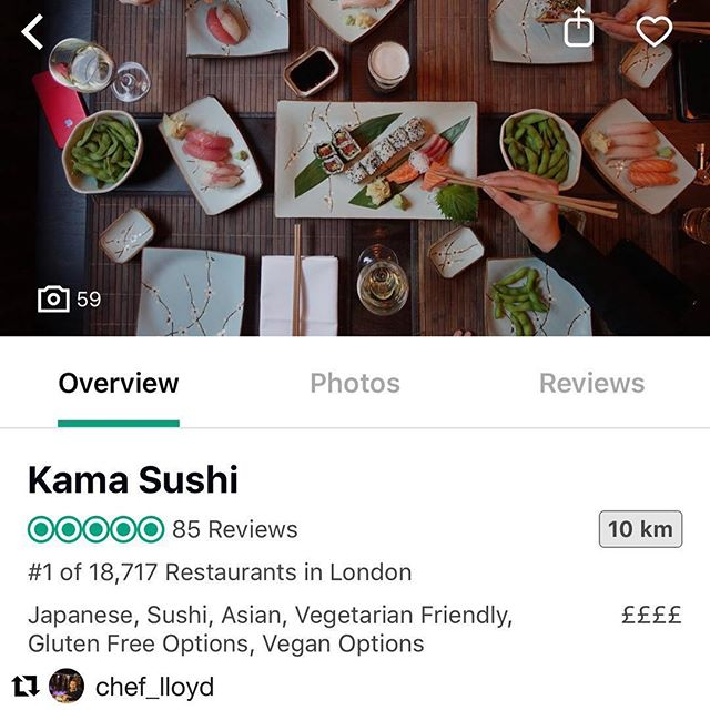 #Repost @chef_lloyd with @get_repost ・・・ A big congratulations to all my team @kamasushildn for making it to No'1 Restaurant in London on TripAdvisor!!