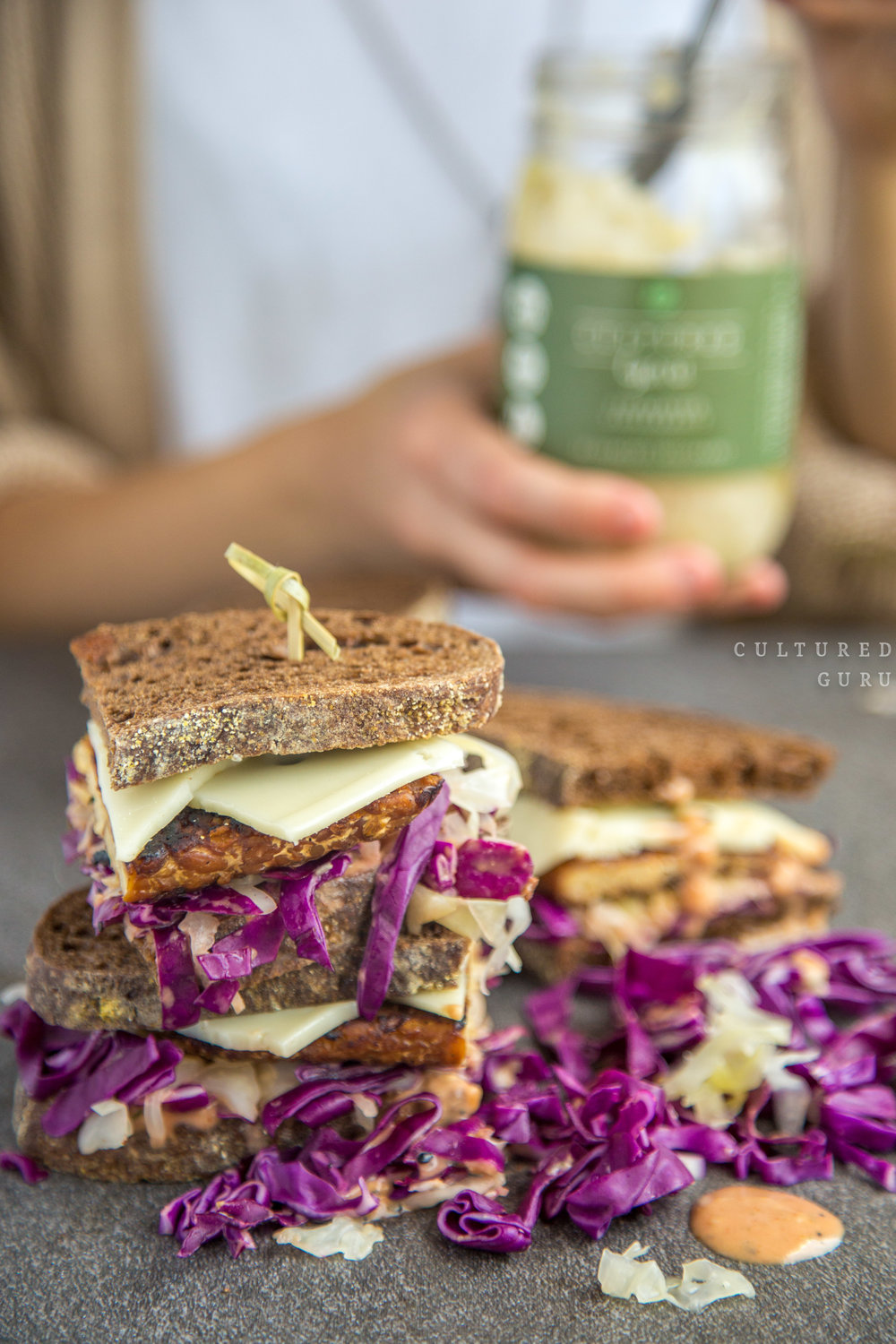 Vegan Recipe | Tempeh Reuben Sandwiches with Probiotic Sauerkraut