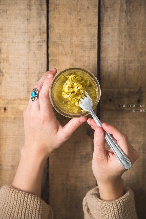 Fermented Foods | Spicy Garlic Pickle Spirals Recipe