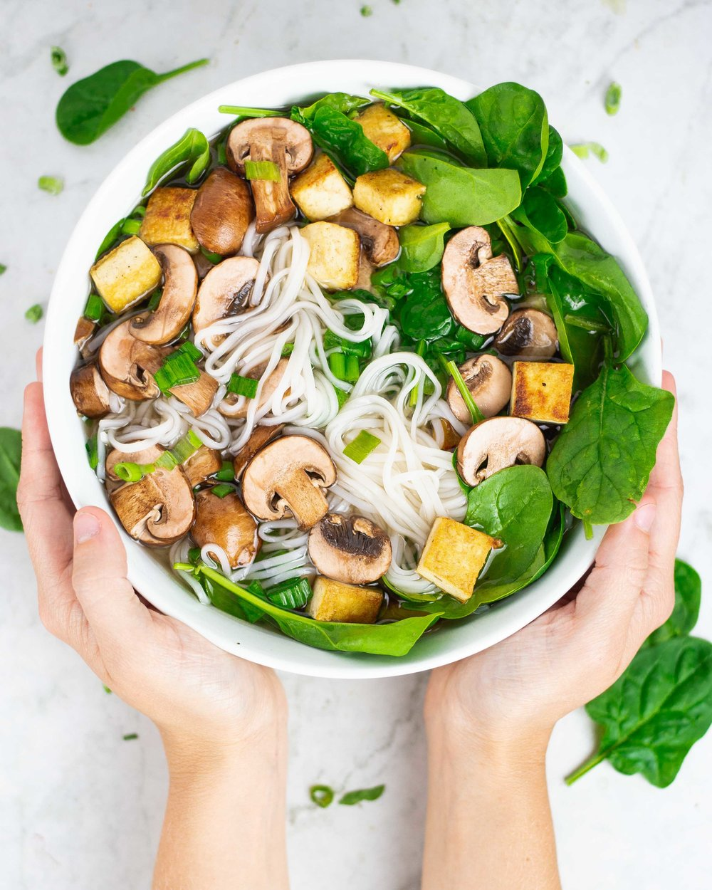 Pho with spinach and mushrooms and Cultured Guru Kimchi Brine