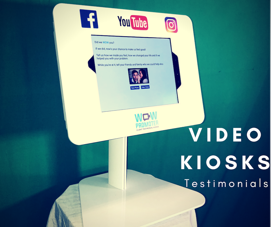 The Desktop Kiosk - The Desktop Kiosk is a smaller model intended for smaller spaces (physicians' offices, therapy clinics, etc.) where a team member can guide your client through the process of giving a video testimonial.You can (and should) substitute your logo and images (we can supply images for you of happy models for your kiosk if you don't like ours).You'll need to supply your own logo to adhere to the upper sign (extra fees apply).