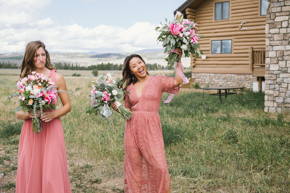 Bridesmaids, flowers, bridesmaids