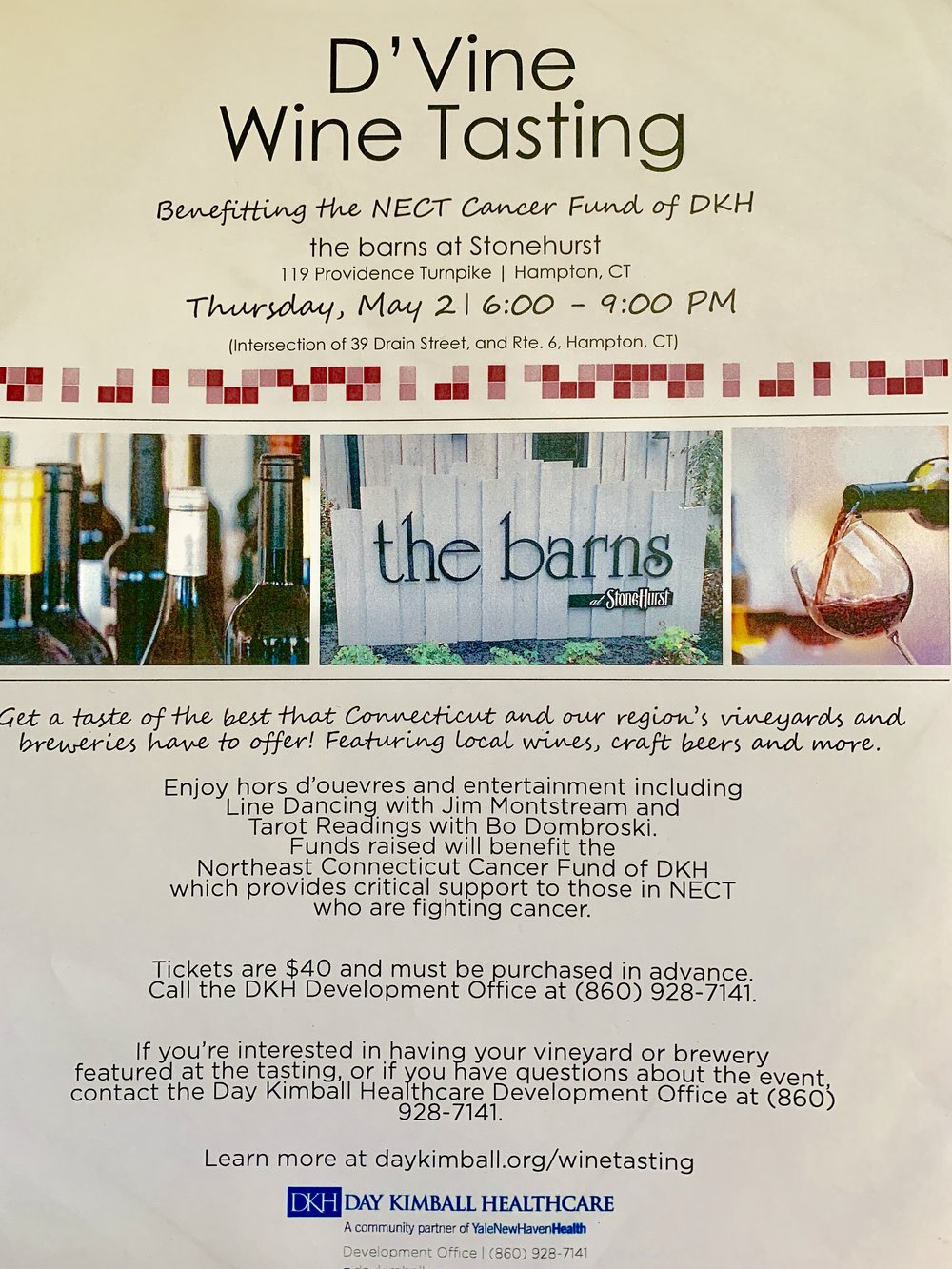 CT wine tasting event benefit Day kimball