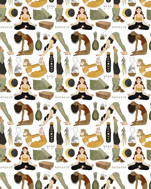 I put together a little pattern from the illustrations I did for my newest yoga sticker set! ✨🌱 ⠀⠀⠀⠀⠀⠀⠀⠀⠀ .  #illustration #art #artist #yoga #letsstartyoga #yogi #wellness #fitness #meditate #etsy #society6 #instaartist #draw #drawing #stickers #magic #namaste #ilustrator #yogaart #yogawithadriene #aloyoga