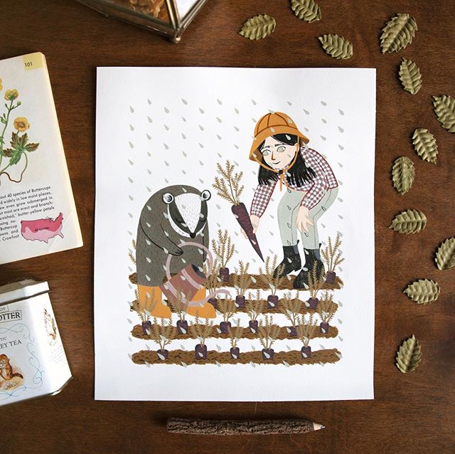 I posted a couple original paintings to my Etsy! annyamarttinen.etsy.com ☔️🥕 ⠀⠀⠀⠀⠀⠀⠀⠀⠀ .  #illustration #art #artist  #april #spring #etsy #garden #gardening #carrot #instaartist #draw #drawing  #badger #kidlit #magic #illustrator #digitalart #kidlitart #plants #vegetables #nature #rain