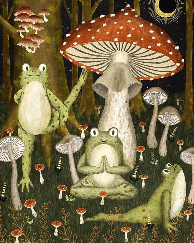 Toads practice yoga in the mushroom forest 🌱 ⠀⠀⠀⠀⠀⠀⠀⠀⠀ .  #illustration #art #artist  #toads #yoga #namaste #mushroom #forest #dark forest #animalyoga #instaartist #draw #drawing  #kidlit #magic #illustrator #digitalart #kidlitart #woods #fungi #nature #night #darkmagic