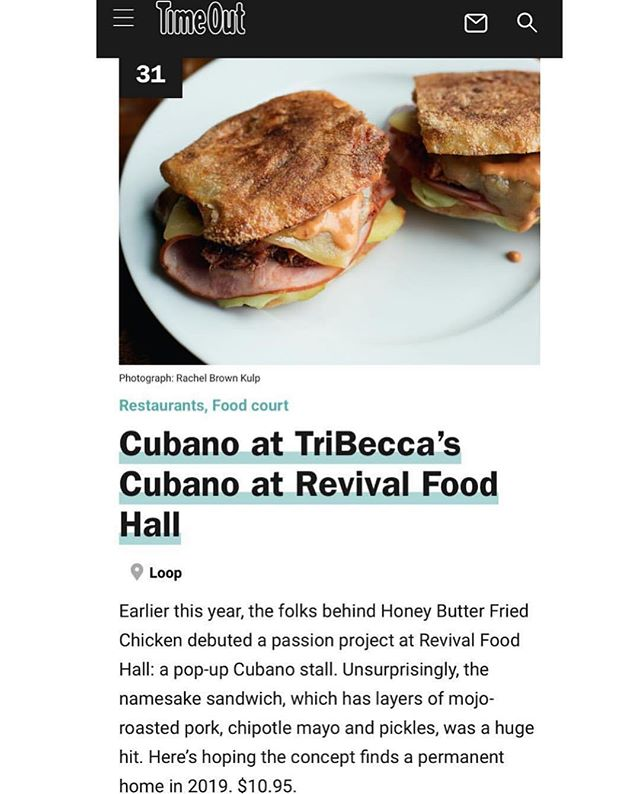 Hi! Remember us? We are still looking for a permanent home for TBC - but thanks so much to @timeoutchicago for including our sandwich on the Best 50 best dishes this year! #tribeccascubano #timeoutchicago