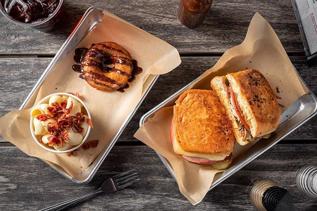 Now taking @Caviar pick up and delivery PRE-ORDERS for our pop up on Monday April 1st! Get your Cubano Sandwich, Bacon Pepper Jack Mac n Cheese, and Banana Bread Griddled Donut order in now. (Veggie option has Mojo Tofu!) Caviar page link in bio.
