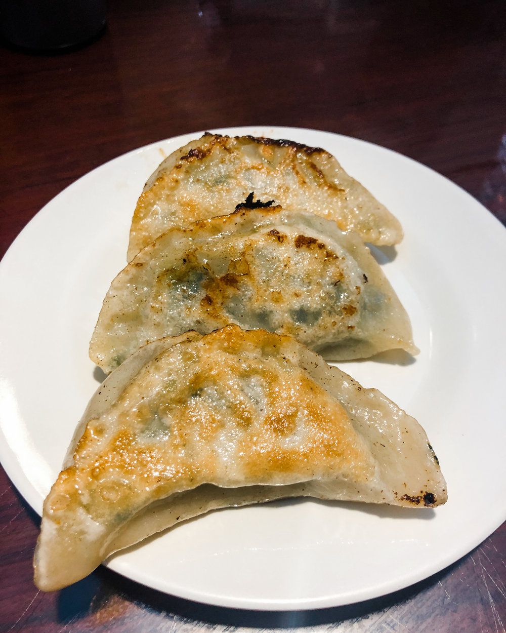 Pan fried dumplings at Yuen Fong Dumplings in Hong Kong