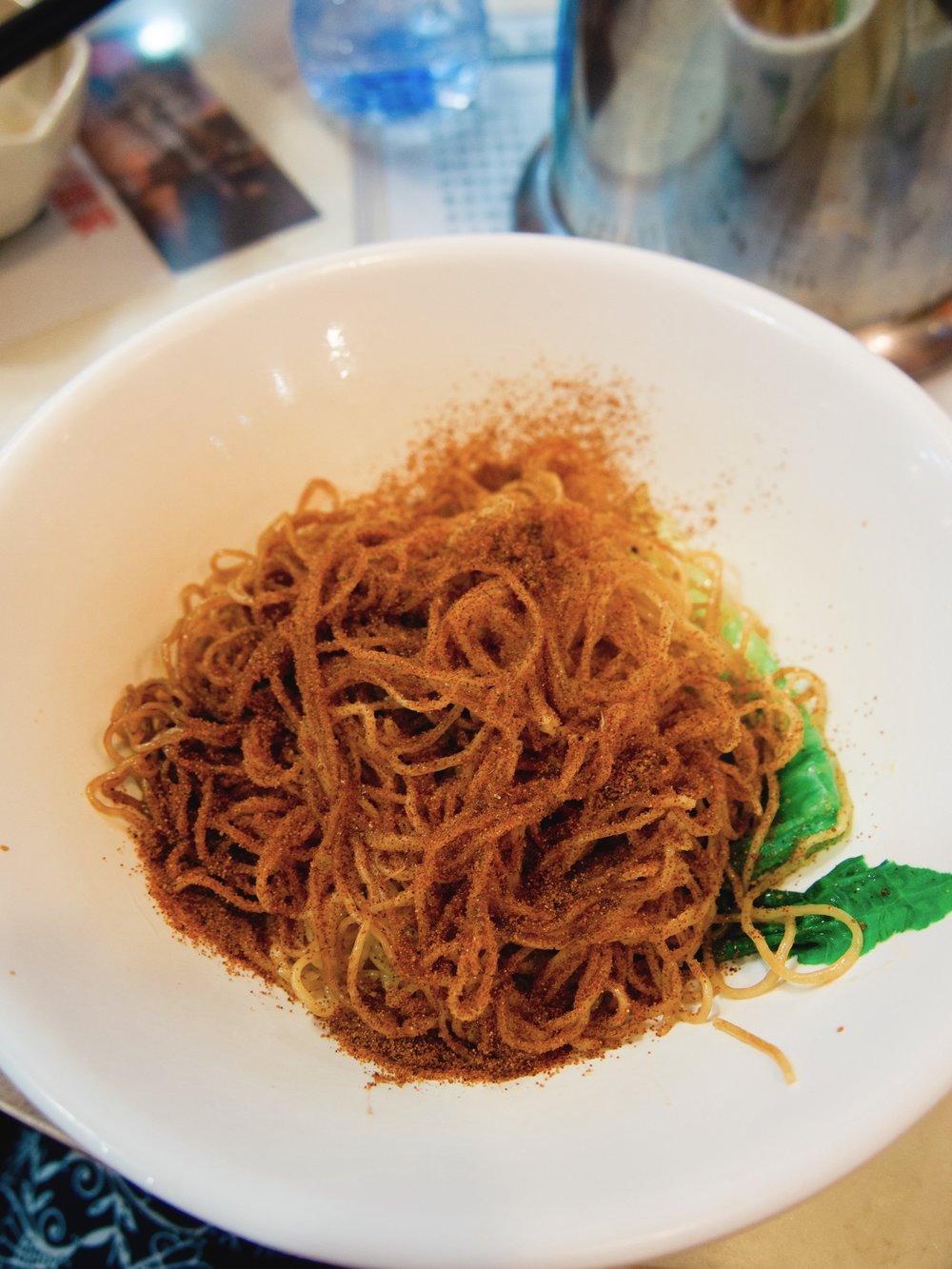 Egg noodles with shrimp roe