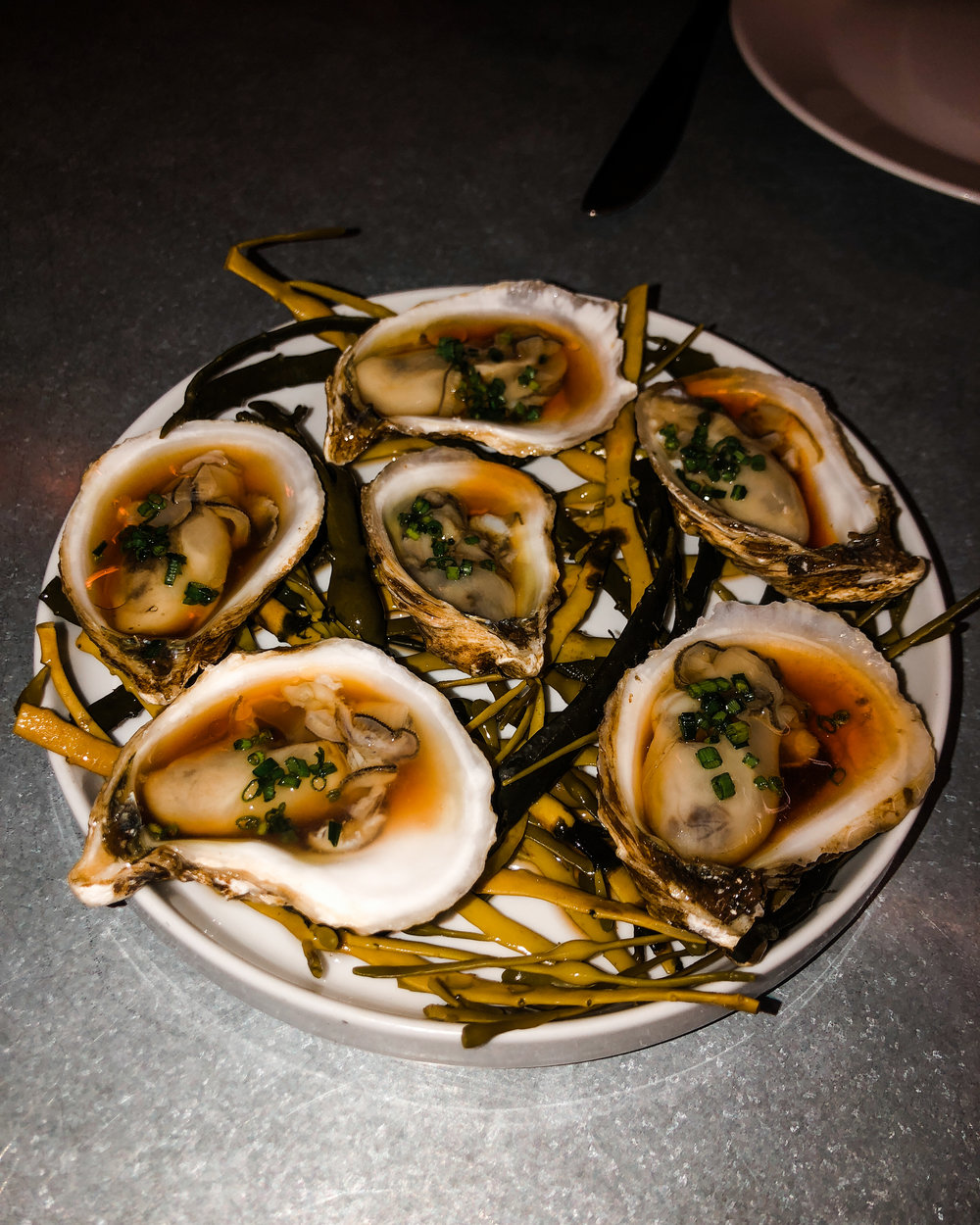 Oysters with lemon, ginger, and vinegar