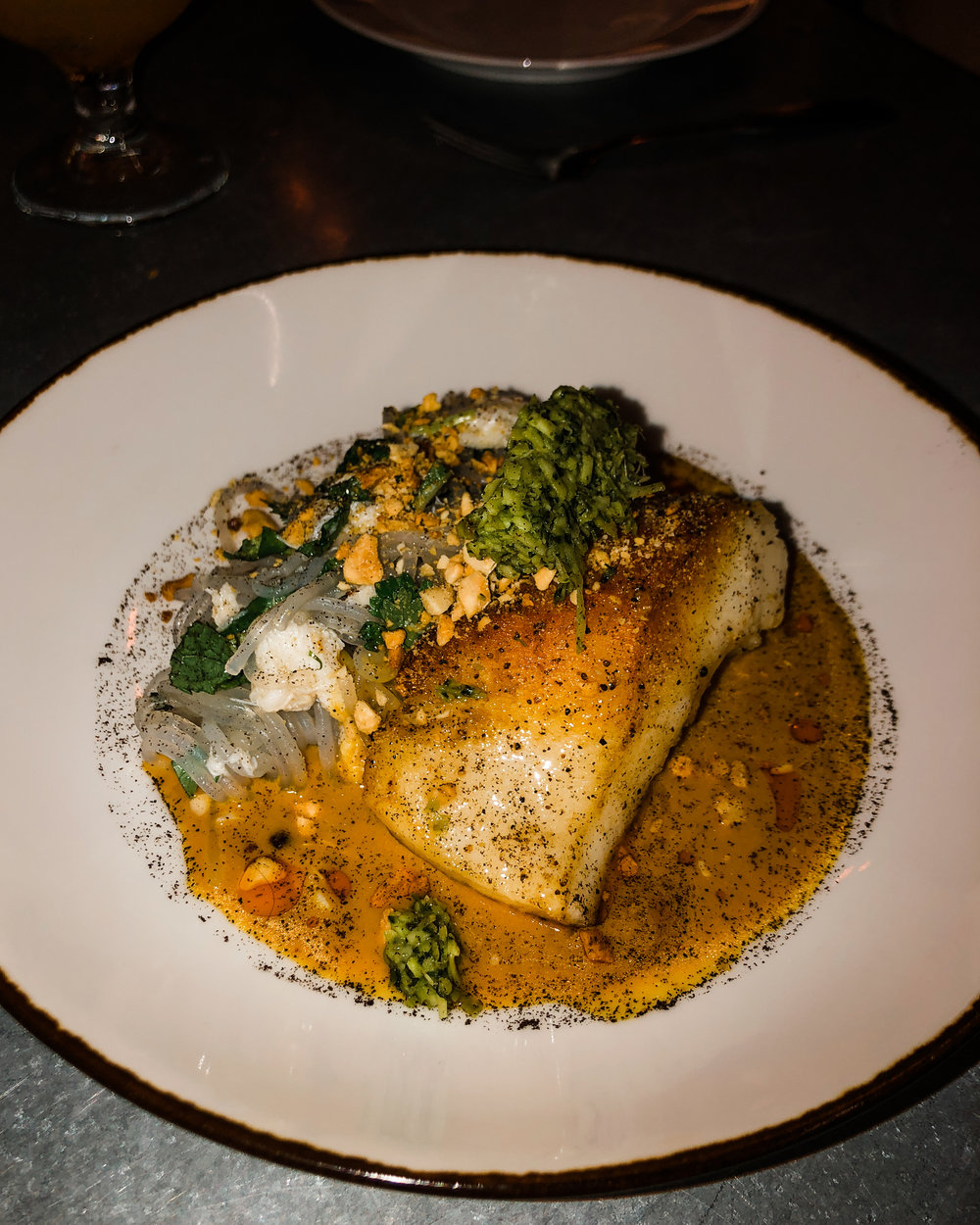 Sea Bass with glass noodles