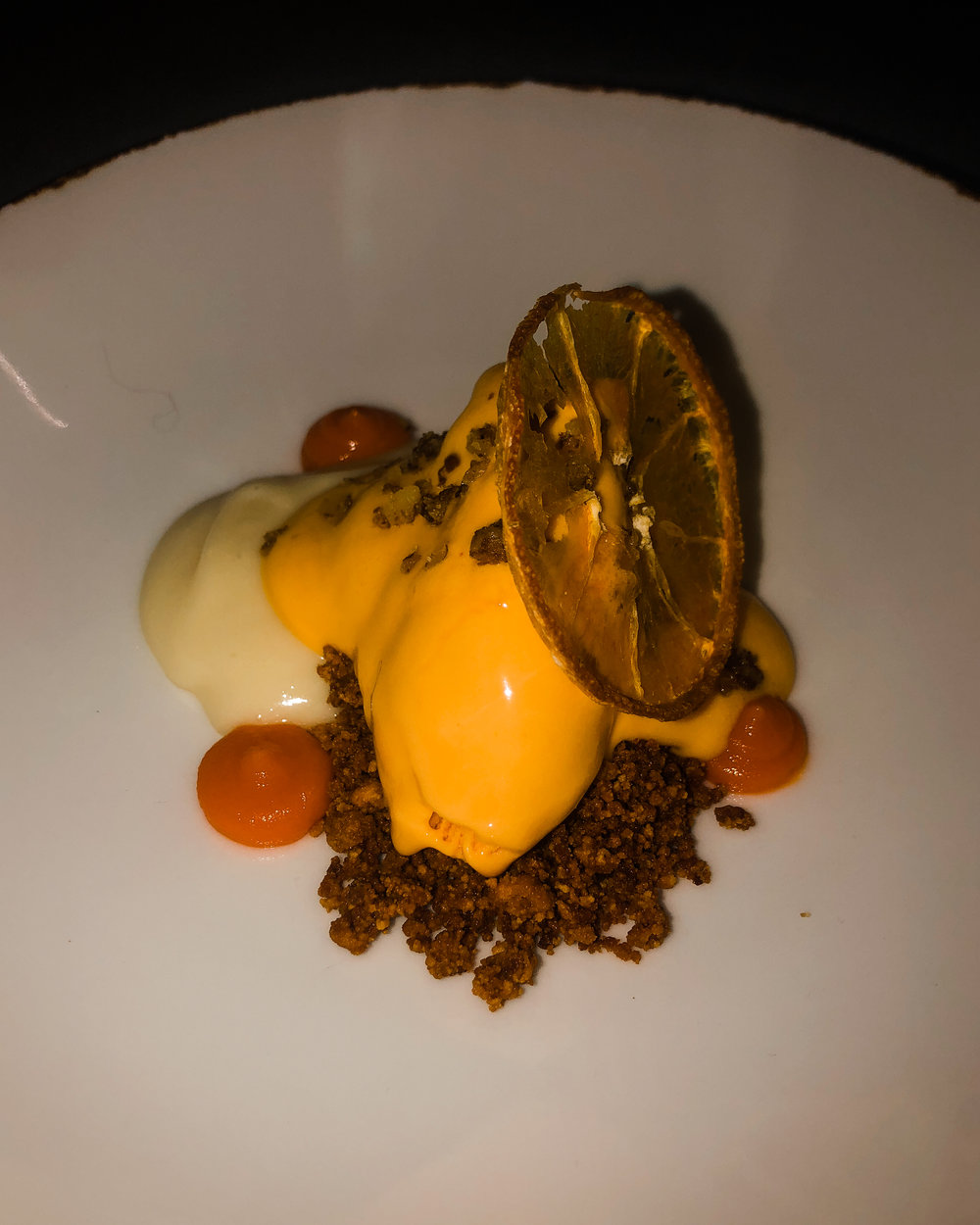 Walnut Chiffon with carrot gelato