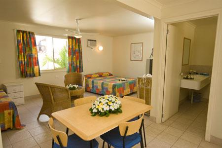 OPTION 4 - STUDIO APARTMENT  Features: Studio apartment Queen Bed + Single Bed, Ensuite Bathroom, Garden Views, Air Conditioning, Kitchennette, Serviced Daily. Max 2 Adults + One Child Per Room
