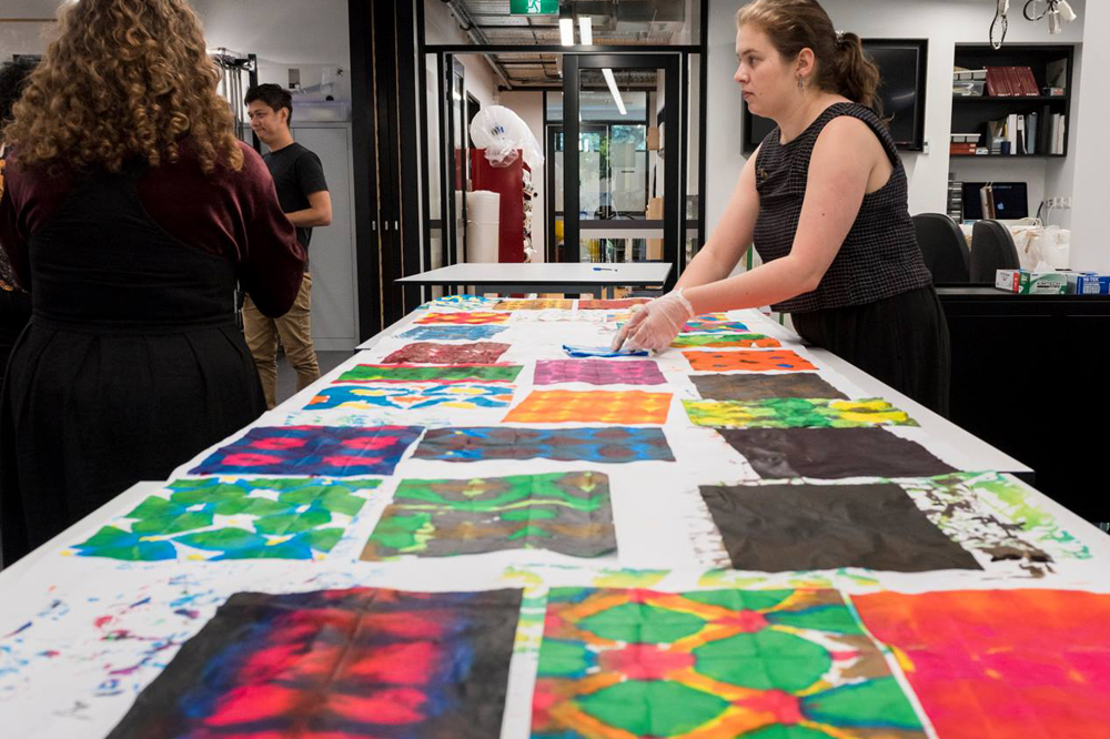Students start by hand-dyeing paper covers for their handmade books
