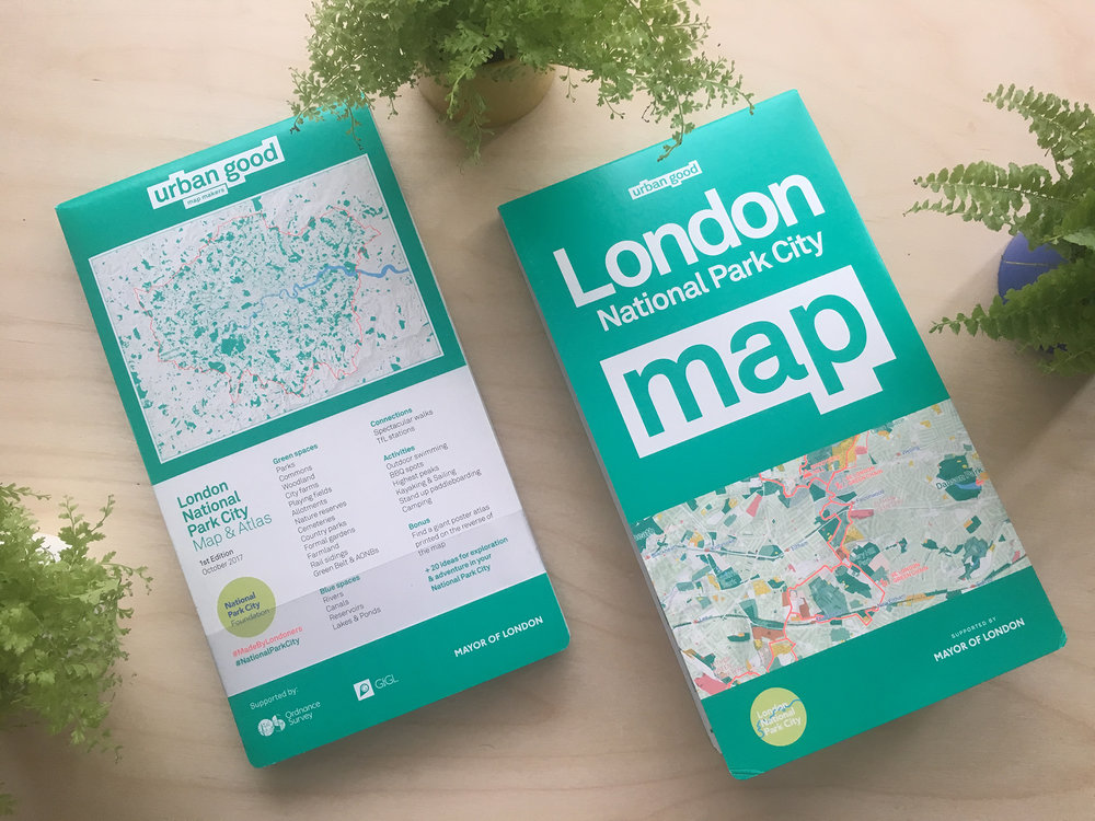 The folded map cover, front and back