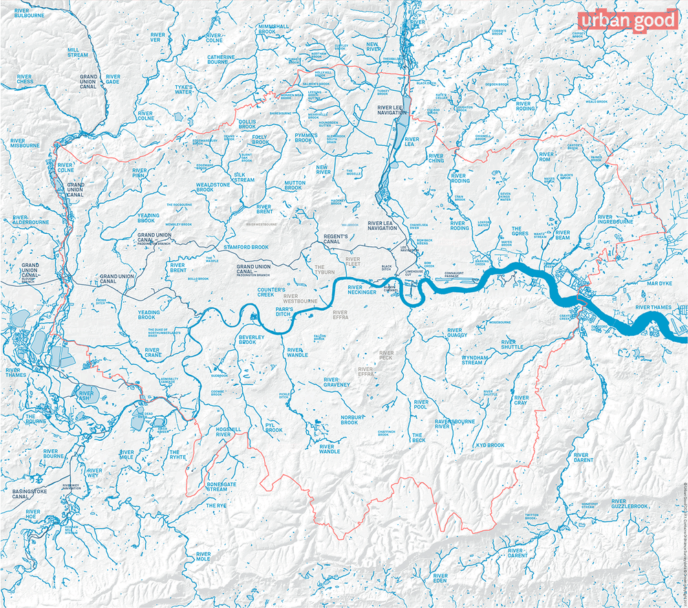 London's Rivers, printed on the reverse