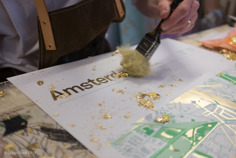 A limited edition of 10 gold leaf maps.
