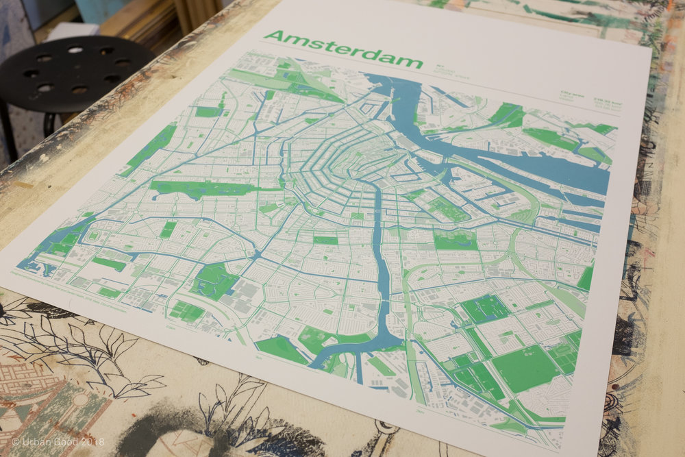 Hand printed maps sold to raise funds.