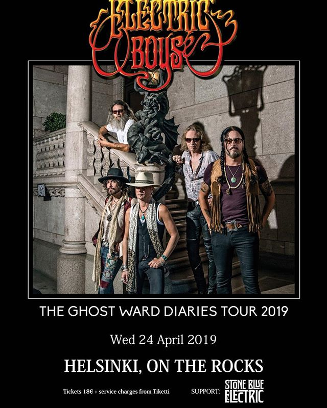 Hi all!  We are happy to announce that we are opening for @Electricboys at @ontherockshelsinki in Helsinki on  24th of April 2019!! Welcome!! ⚡️⚡️⚡️⚡️⚡️⚡️ Get your tickets⬇️⬇️⬇️ @tiketti / door  #electricboys #ontherockshelsinki #stoneblueelectric  https://www.tiketti.fi/tapahtumat#q=Electric%20boys
