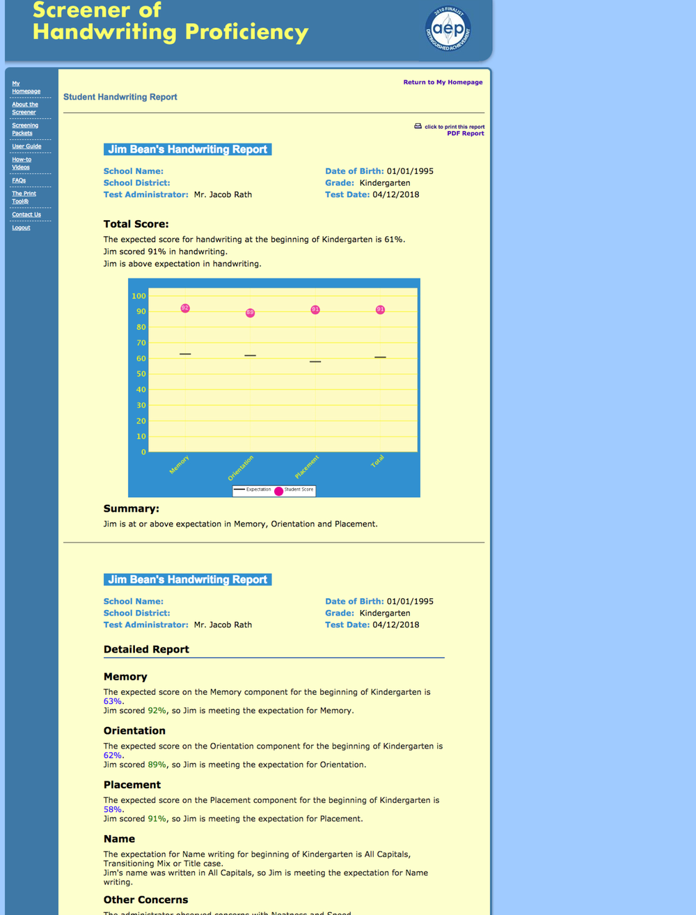Legacy Reporting Screen