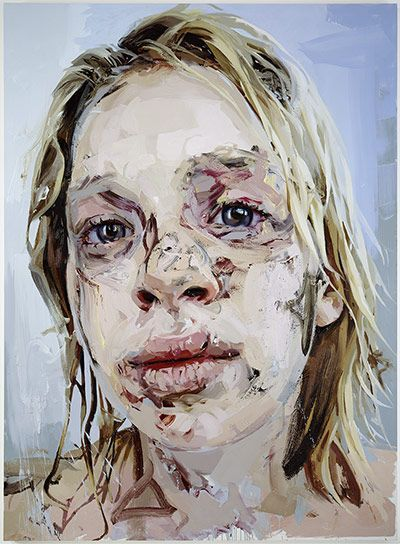 Jenny Saville: Bleach - Jenny Savilles line quality as well as her overall gesture is much more expressive than Hockney's painting but it provides a different kind of commentary.
