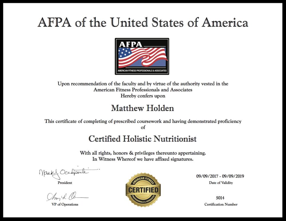 Certifications Matt Holden