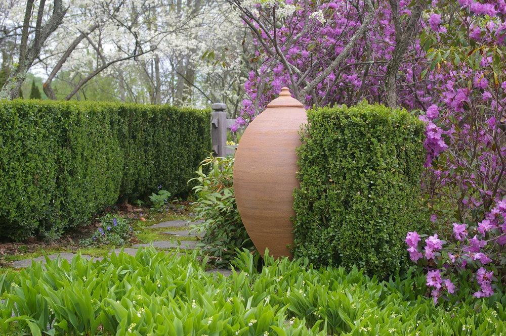 Mandorla vessel in garden.JPG