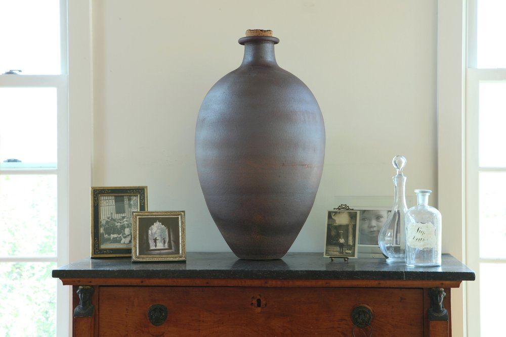 27h 15w $650 Ovoid vase with slip.jpeg
