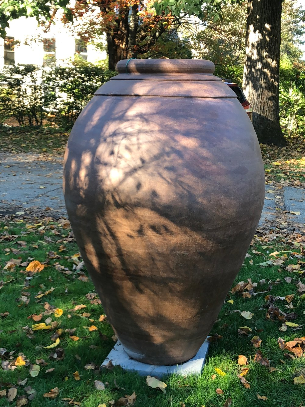 Monumental Vase - Monumental scale (five feet tall!) and bold lines ensure that this piece will assert its presence in any setting. Price reduction (from $12,000) reflects repaired joins and surface blemishes from the firing.60h x 40w $8,000 Available now