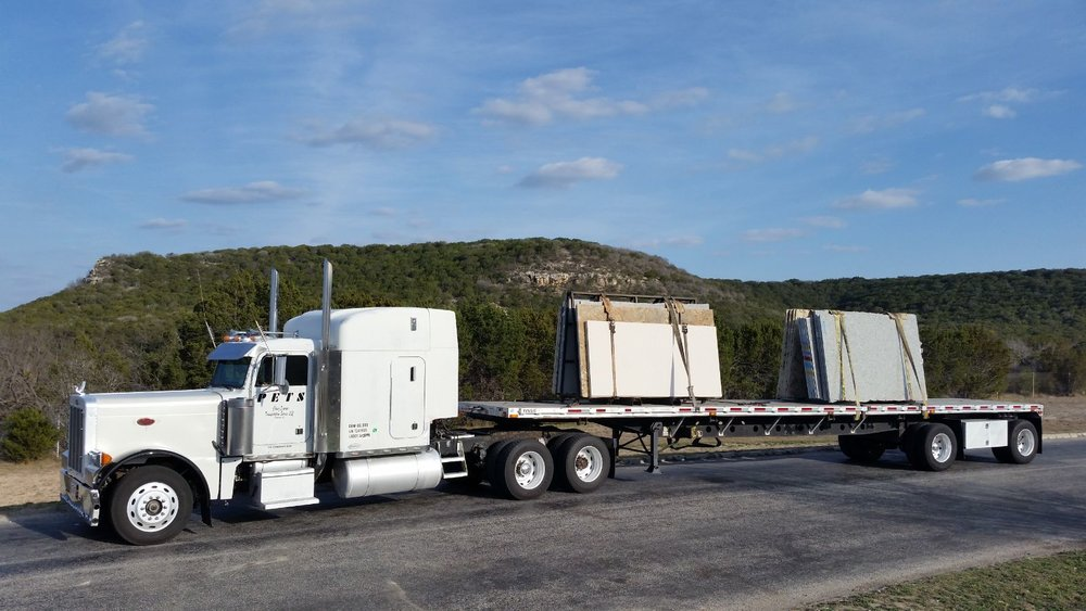 Full truck granite and marble slab delivery