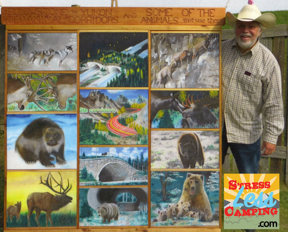 Fred and his painting board touring great campsites across north America.