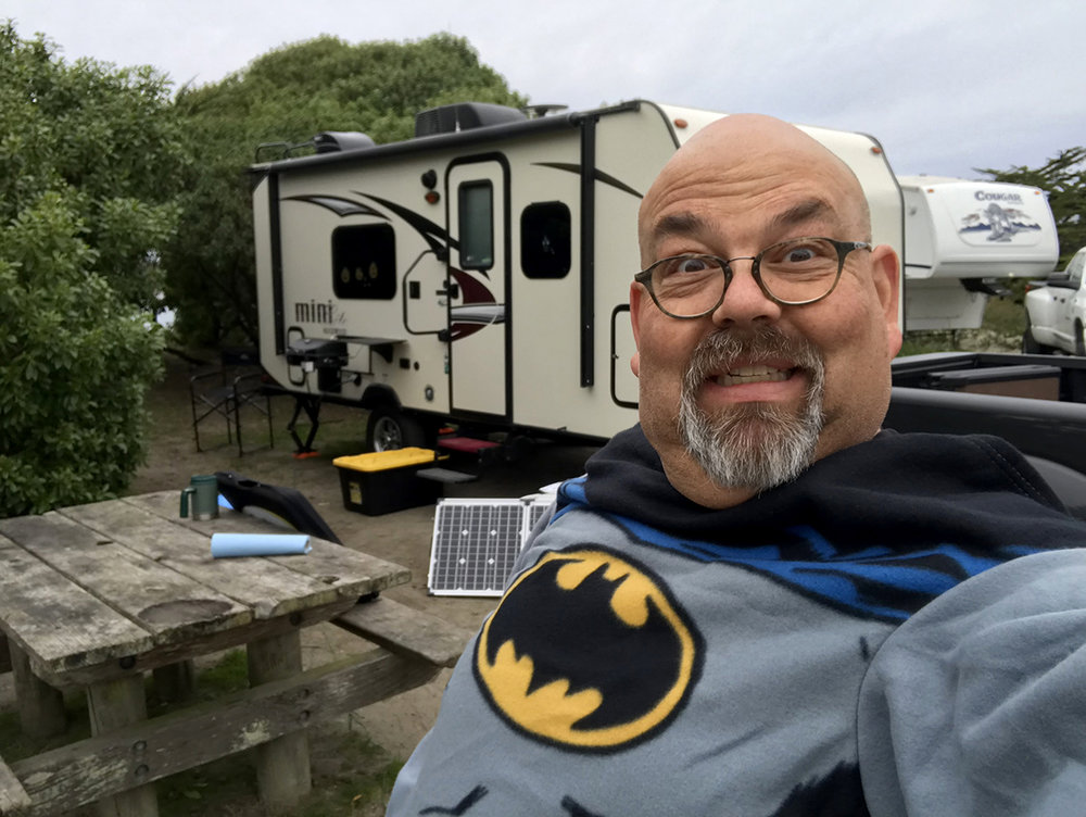 Our GoPower solar panels do their job even while winter camping! Yeah, I did bring a Batman Snuggie.