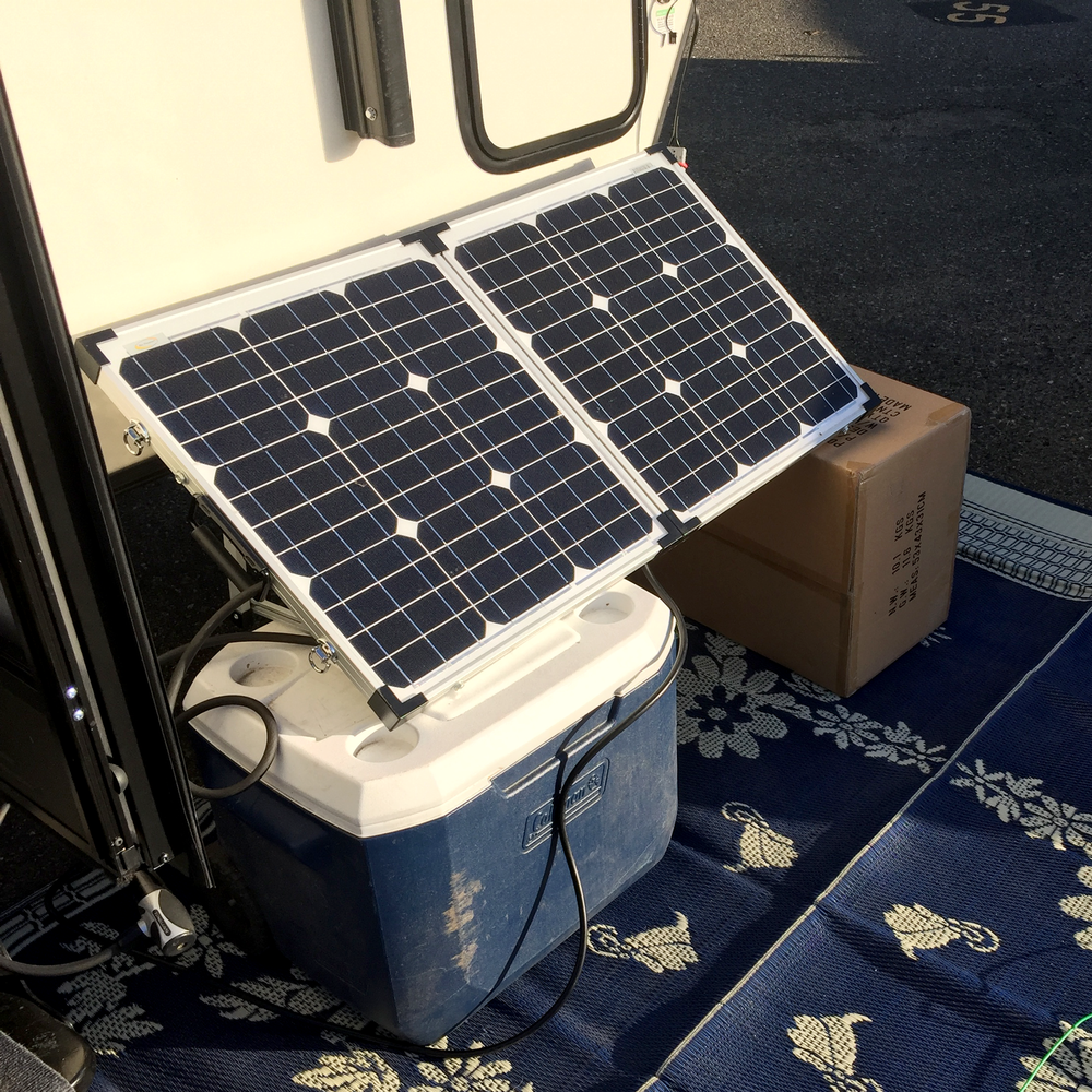 The first time we used the solar suitcase we may not quite have gotten the cool adjustable legs.