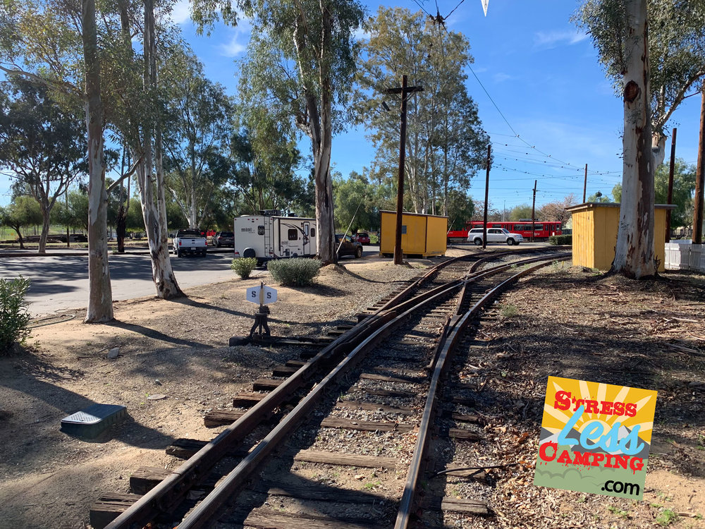 Our level campsite right next to the tracks at the Orange Empire Railway Museum in Perris, CA