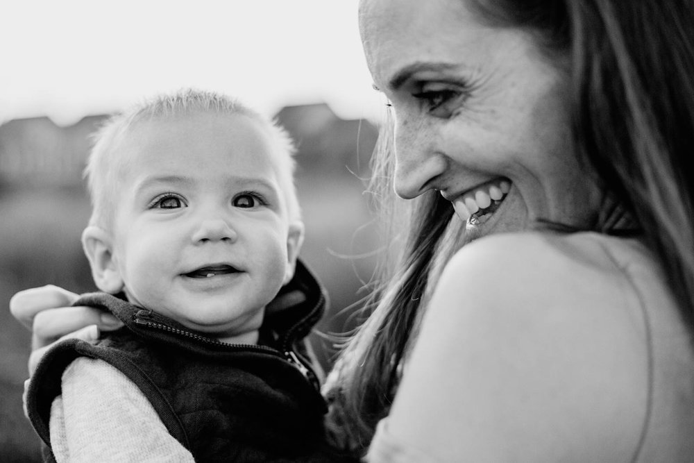 Black and white; mother and son family photography aldie, VA